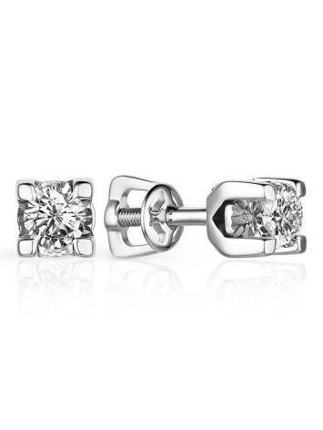Minimalist White Gold Diamond Stud Earrings, image