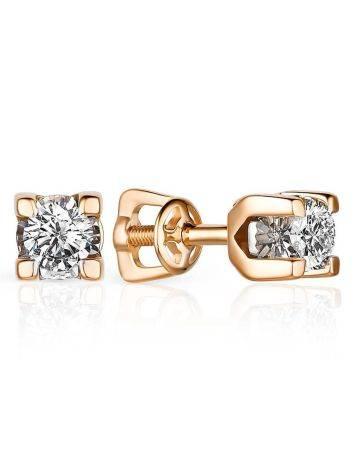 Yellow Gold Diamond Stud Earrings, image
