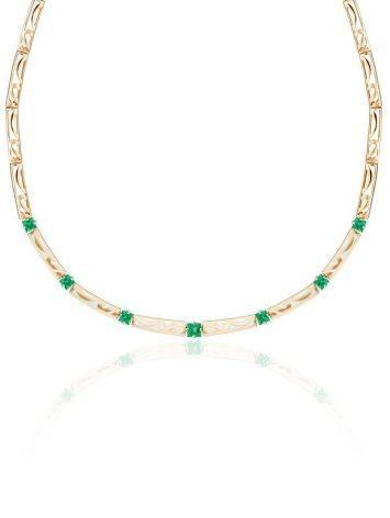 Glamorous Golden Emerald Necklace, Length: 40, image