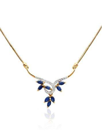 Fabulous Gold Diamond Sapphire Necklace, Length: 50, image
