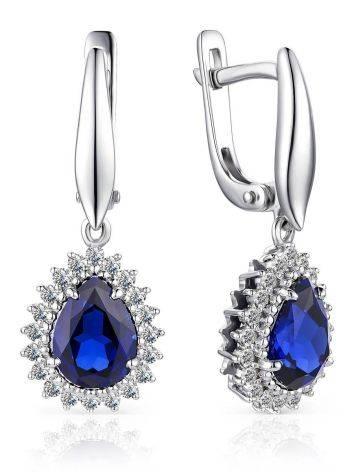 Refined Gold Sapphire Diamond Drop Earrings, image