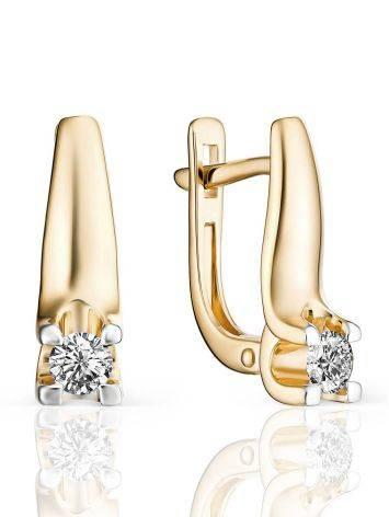Gold Diamond Statement Earrings, image