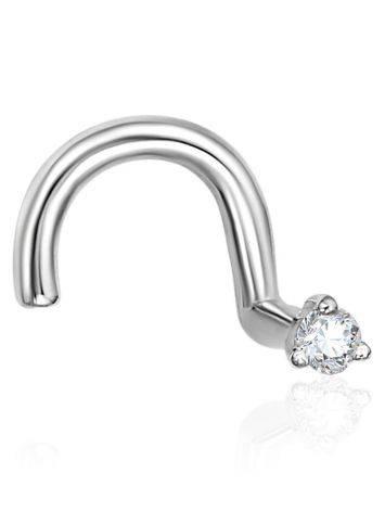 Trendy White Gold Diamond Nostril Piercing, image