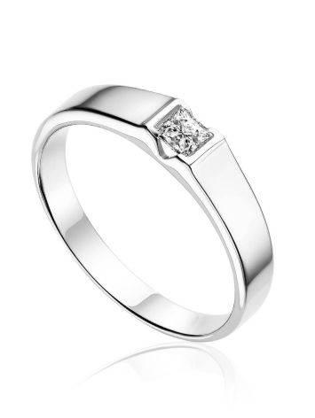 Кольцо из белого золота с бриллиантом в лаконичном дизайне, Ring Size: 8 / 18, image