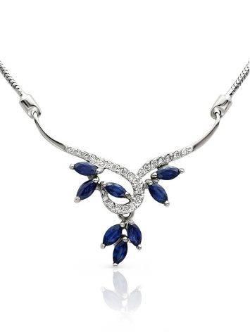 Fabulous White Gold Sapphire Diamond Necklace, Length: 50, image