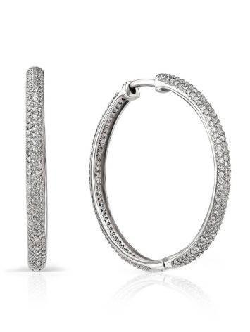 Fashionable White Gold Diamond Hoop Earrings, image
