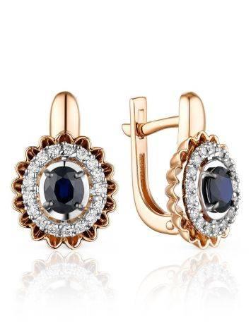 Vintage Style Gold Sapphire Diamond Earrings, image
