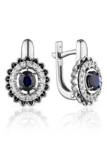Designer White Gold Diamond Sapphire Earrings, image
