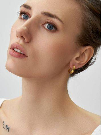 Textured Finish Gold Plated Silver Stud Earrings The Liquid, image , picture 3