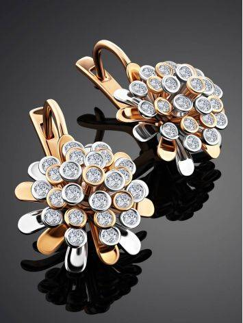Amazing Floral Design Gold Diamond Earrings, image , picture 2
