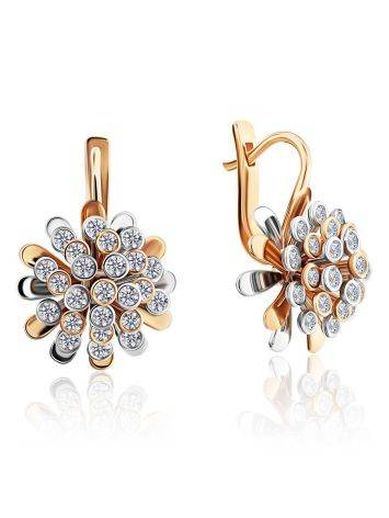 Amazing Floral Design Gold Diamond Earrings, image