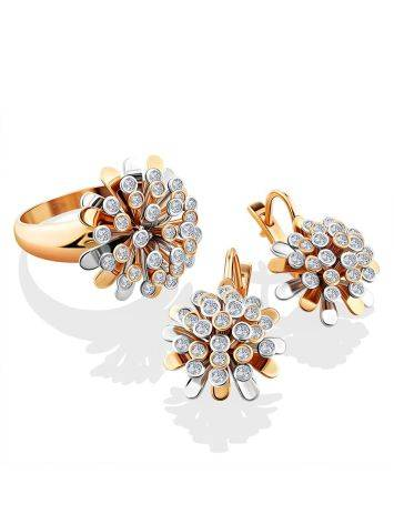 Amazing Floral Design Gold Diamond Earrings, image , picture 3