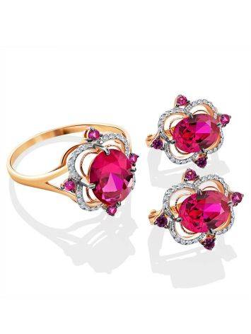 Amazing Golden Earrings With Ruby And Diamonds, image , picture 3