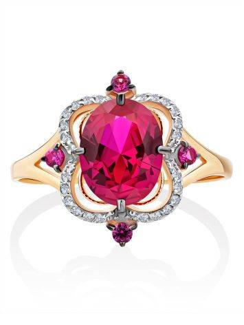 Gorgeous Gold Diamond Ruby Ring, Ring Size: 9.5 / 19.5, image , picture 3