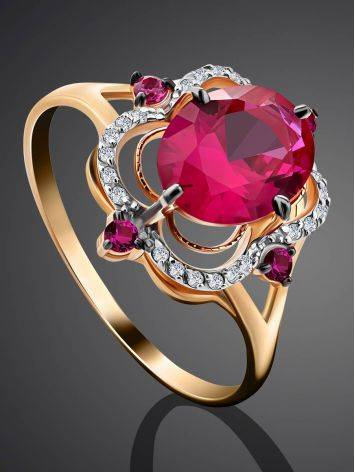 Gorgeous Gold Diamond Ruby Ring, Ring Size: 9.5 / 19.5, image , picture 2