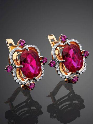 Amazing Golden Earrings With Ruby And Diamonds, image , picture 2