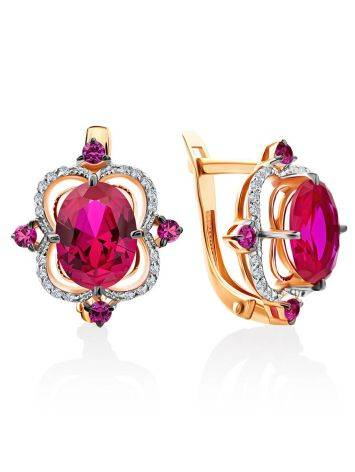 Amazing Golden Earrings With Ruby And Diamonds, image