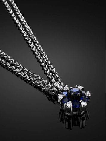 White Gold Necklace With Sapphire Diamond Pendant, image , picture 2