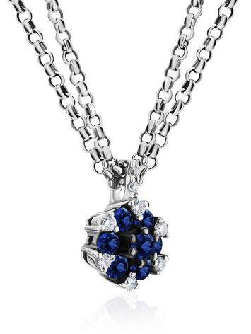 White Gold Necklace With Sapphire Diamond Pendant, image , picture 3