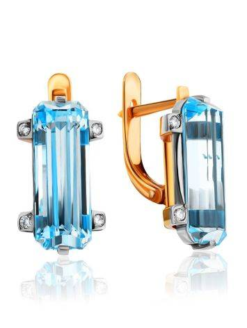 Lustrous Gold Topaz Diamond Earrings, image