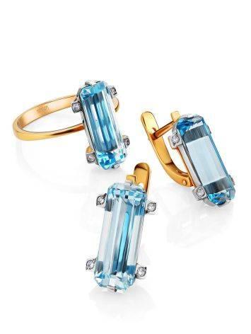 Lustrous Gold Topaz Diamond Earrings, image , picture 3