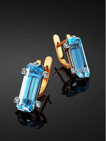 Lustrous Gold Topaz Diamond Earrings, image , picture 2