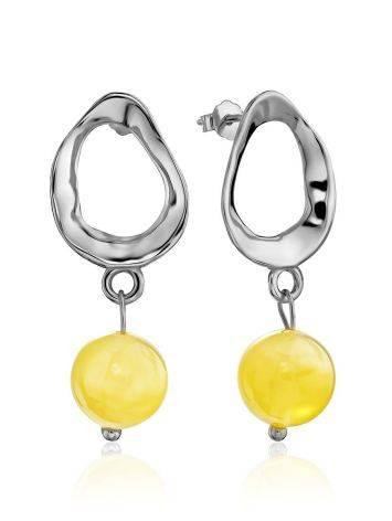 Boho Chic Silver Amber Dangle Earrings The Palazzo, image