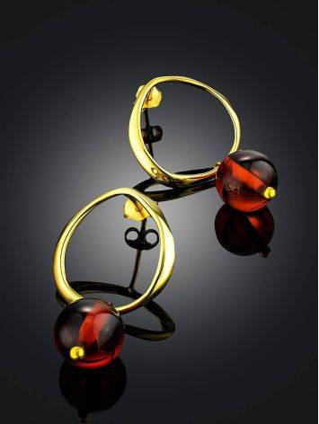 Chic Gold Plated Silver Amber Earrings The Palazzo, image , picture 2