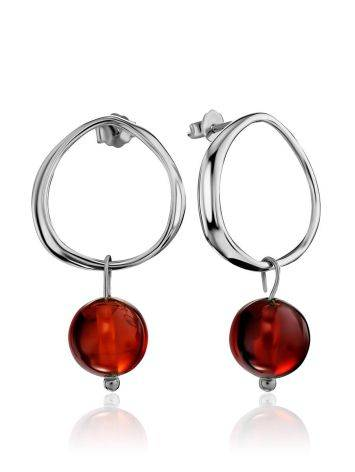 Trendy Silver Amber Dangle Earrings The Palazzo, image