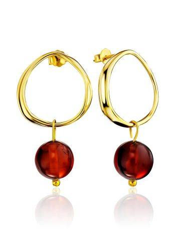 Chic Gold Plated Silver Amber Earrings The Palazzo, image