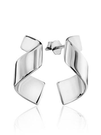 Chic Silver Twisted Stud Earrings The Liquid, image