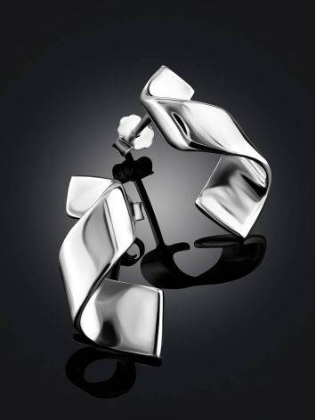 Chic Silver Twisted Stud Earrings The Liquid, image , picture 2