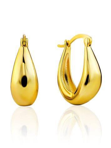 Trendy Gold Plated Silver Hoop Earrings The Liquid, image