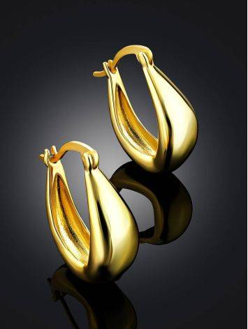 Trendy Gold Plated Silver Hoop Earrings The Liquid, image , picture 2