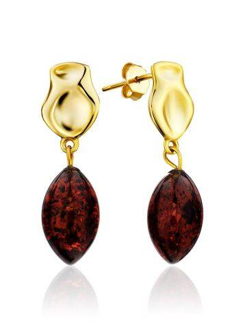 Trendy Gold Plated Silver Dangles With Cherry Amber The Palazzo, image