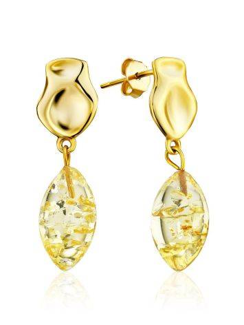Chic Gold Plated Silver Dangles With Luminous Lemon Amber The Palazzo, image
