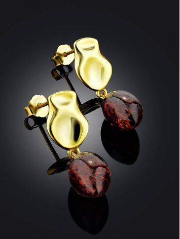 Trendy Gold Plated Silver Dangles With Cherry Amber The Palazzo, image , picture 2