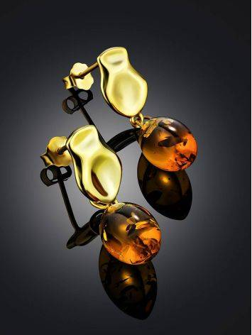 Gilded Silver Dangles With Luminous Cognac Amber The Palazzo, image , picture 2