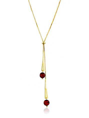 Gilded Silver Lariat Necklace With Amber Dangles The Palazzo, image