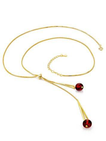 Gilded Silver Lariat Necklace With Amber Dangles The Palazzo, image , picture 4