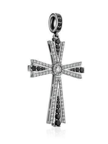 White Gold Diamond Cross Pendant, image , picture 3