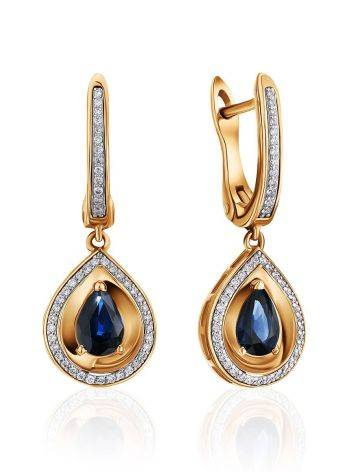 Golden Sapphire Diamond Drop Earrings, image