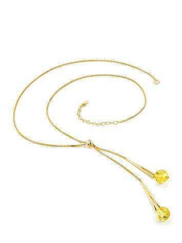 Chic Gilded Silver Lariat Necklace With Amber Stones The Palazzo, image , picture 4