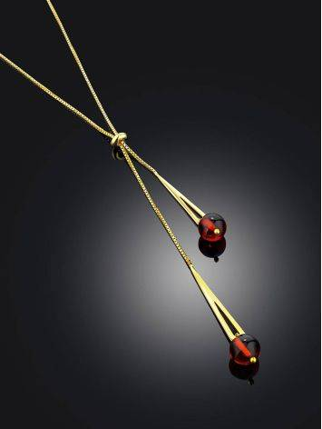 Gilded Silver Lariat Necklace With Amber Dangles The Palazzo, image , picture 2