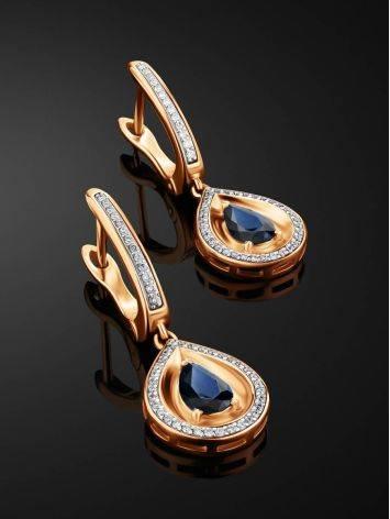 Golden Sapphire Diamond Drop Earrings, image , picture 2
