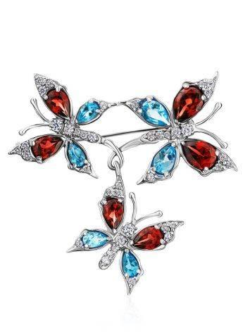 Wonderful Silver Crystal Butterfly Brooch, image