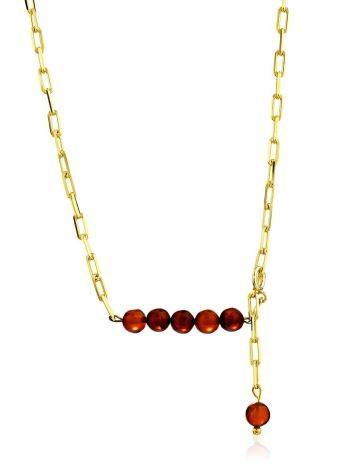 Fashionable Gilded Silver Necklace With Horizontal Bar Pendant The Palazzo, image