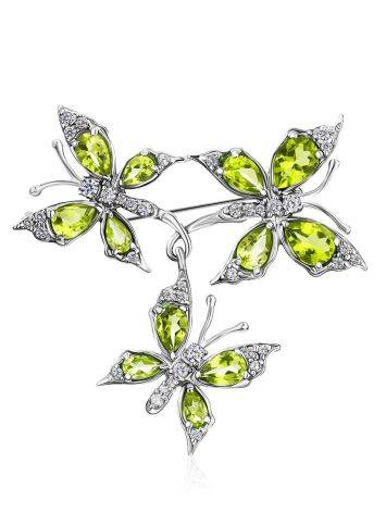 Silver Chrysolite Butterfly Brooch, image
