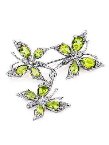 Silver Chrysolite Butterfly Brooch, image , picture 2