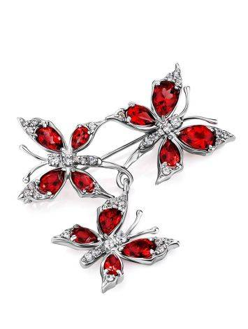 Amazing Silver Garnet Butterfly Brooch, image , picture 3